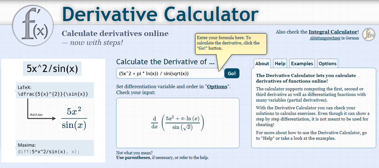 derivate calculator1