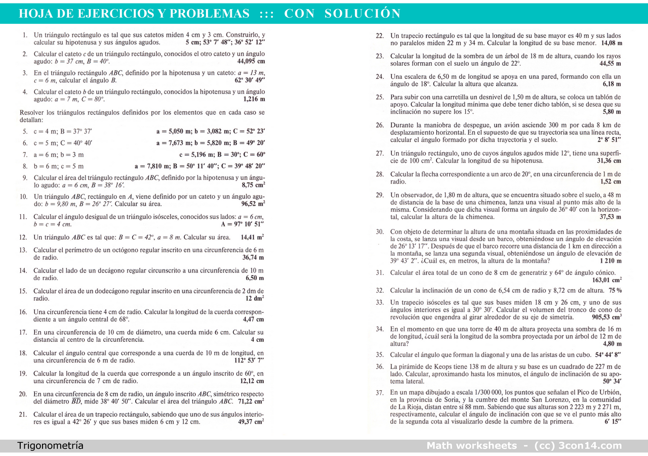 3con14 - Matemáticas - B · Hoja 002 - Ejer. y prob., con solución ...